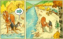 Wolfo, chien, cheval, loup, lecture, bande dessinée, Rhône, Valais, aventure en BD, nature